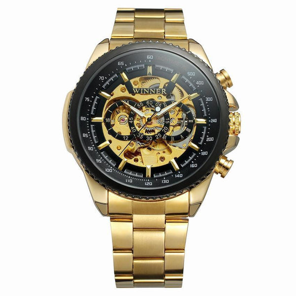 Trendinggate.com Men's Watches Black face of golden steel strip WINNER Golden mechanical watch