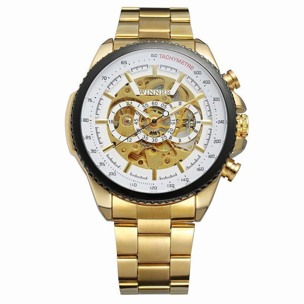 Trendinggate.com Men's Watches Gold strip white flour WINNER Golden mechanical watch