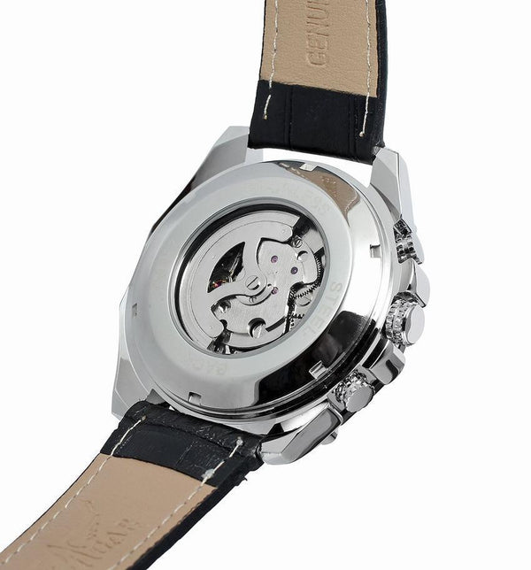 Trendinggate.com Men's Watches WINNER leather band adds rich feel to the piece