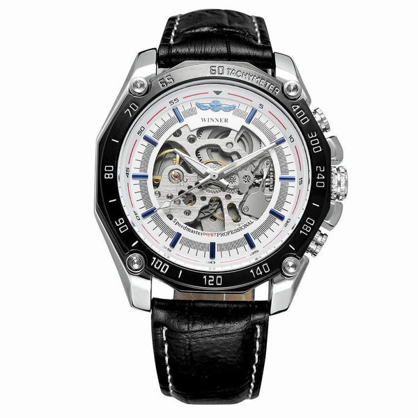 Trendinggate.com Men's Watches Black leather, silver shell, white face WINNER leather band adds rich feel to the piece