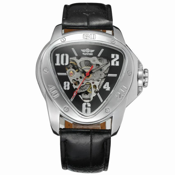 Trendinggate.com Men's Watches Black leather silver shell black digital face WINNER simple leather band looks right in any setting
