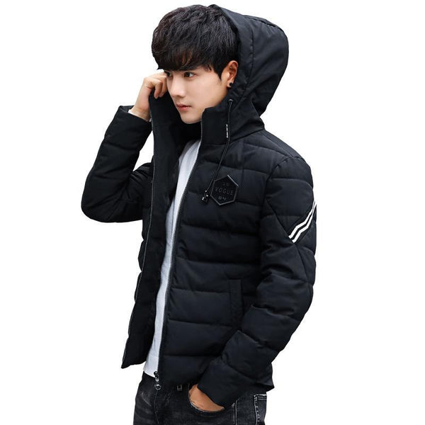 Trendinggate.com Winter Short Cotton Clothes for Men Thickened Young Handsome Hat Coat Men's Cotton Coat for Self-cultivation Students'Leisure Cotton Clothes