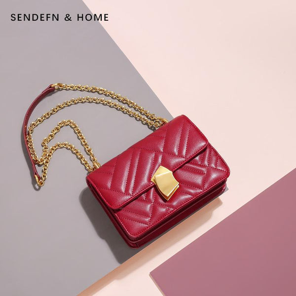 Trendinggate.com Claret Women's bag 2019 new car sewing vertical pattern chain single shoulder bag leather women's bag manufacturer customized Guangzhou one hair substitute