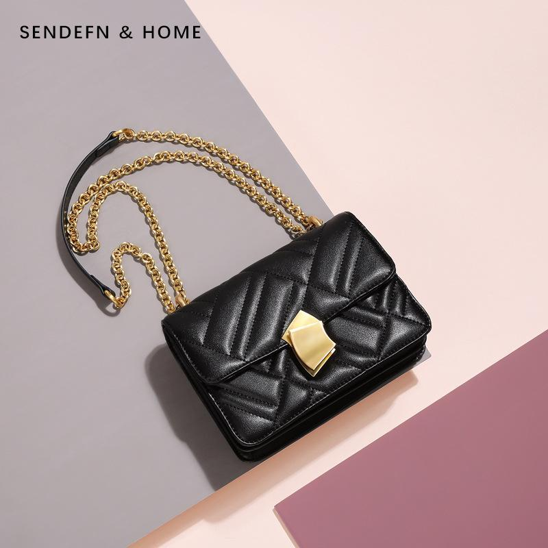 Trendinggate.com Elegant Black Women's bag 2019 new car sewing vertical pattern chain single shoulder bag leather women's bag manufacturer customized Guangzhou one hair substitute