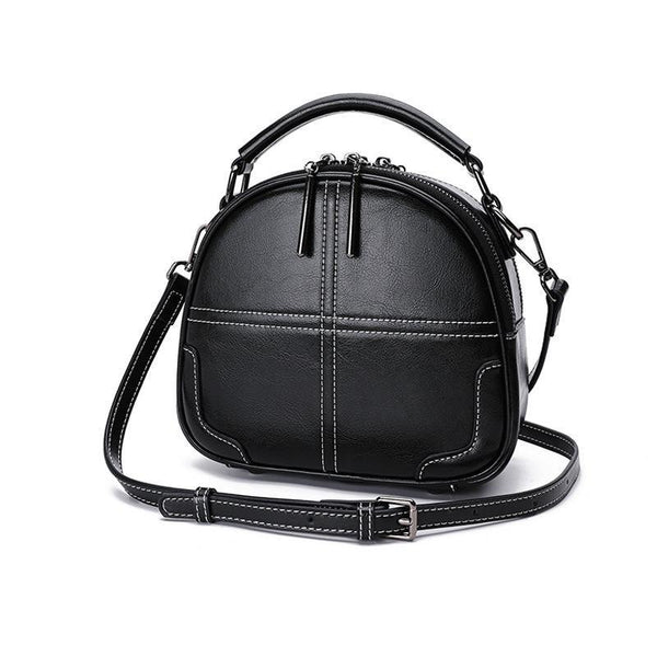 Trendinggate.com black[Goods in stock] Women's bag 2019 New leather bag foreign air oblique satchel sewing fashion handheld single shoulder pillow bag 0136