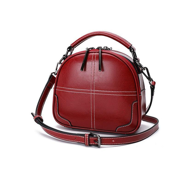 Trendinggate.com Claret[Goods in stock] Women's bag 2019 New leather bag foreign air oblique satchel sewing fashion handheld single shoulder pillow bag 0136