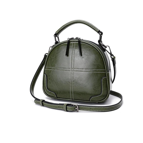 Trendinggate.com [Of] malachite green[Goods in stock] Women's bag 2019 New leather bag foreign air oblique satchel sewing fashion handheld single shoulder pillow bag 0136