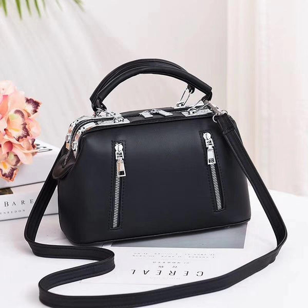 Trendinggate.com black (colour) Women's Bag Autumn 2019 New and Fresh Steel Clamp Handbag Fashion Korean Edition Single Shoulder Bag Occidental Recreational Slant Bag Wholesale