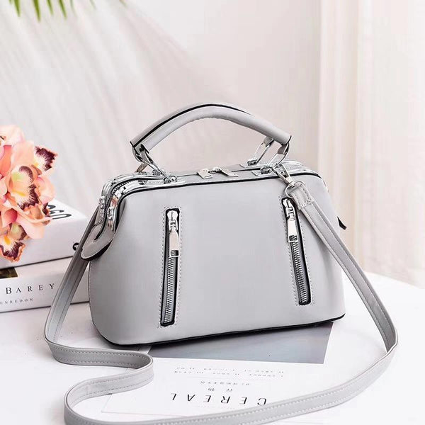 Trendinggate.com French grey Women's Bag Autumn 2019 New and Fresh Steel Clamp Handbag Fashion Korean Edition Single Shoulder Bag Occidental Recreational Slant Bag Wholesale
