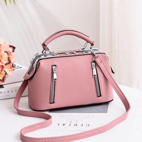 Trendinggate.com Pink Women's Bag Autumn 2019 New and Fresh Steel Clamp Handbag Fashion Korean Edition Single Shoulder Bag Occidental Recreational Slant Bag Wholesale