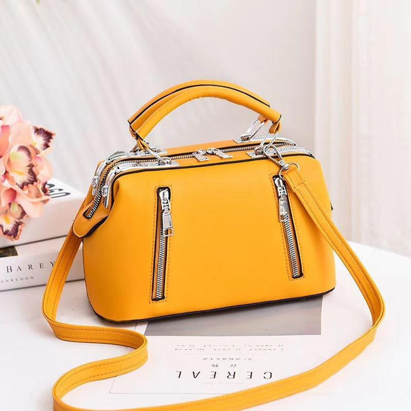 Trendinggate.com Yellow Women's Bag Autumn 2019 New and Fresh Steel Clamp Handbag Fashion Korean Edition Single Shoulder Bag Occidental Recreational Slant Bag Wholesale