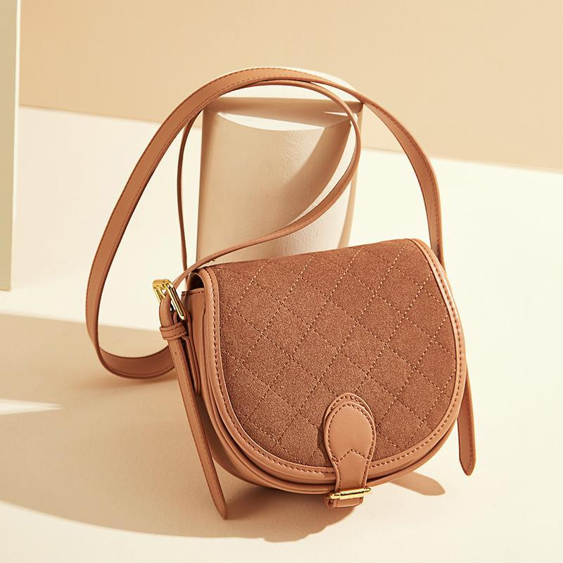 Trendinggate.com Women's bag leather autumn and winter 2019 new style retro one-shoulder cross-wrapped cowhide frosted saddle bag with half-moon bag