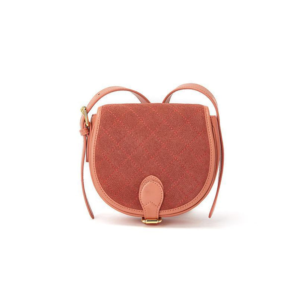 Trendinggate.com Brick Red Women's bag leather autumn and winter 2019 new style retro one-shoulder cross-wrapped cowhide frosted saddle bag with half-moon bag