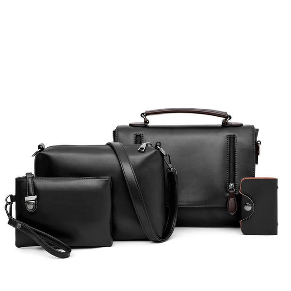 Trendinggate.com black (colour) Women's bag slant 2019 new Korean version of the retro shoulder slanted female bag PU bag mother multi-piece set foreign trade bag