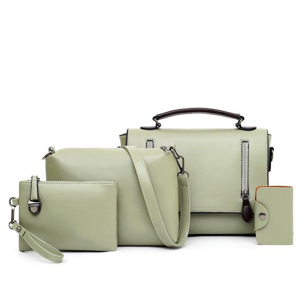Trendinggate.com green Women's bag slant 2019 new Korean version of the retro shoulder slanted female bag PU bag mother multi-piece set foreign trade bag