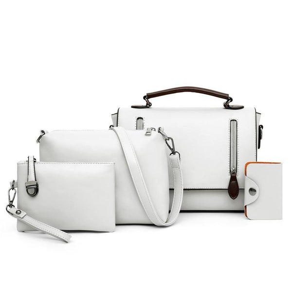 Trendinggate.com Light grey Women's bag slant 2019 new Korean version of the retro shoulder slanted female bag PU bag mother multi-piece set foreign trade bag