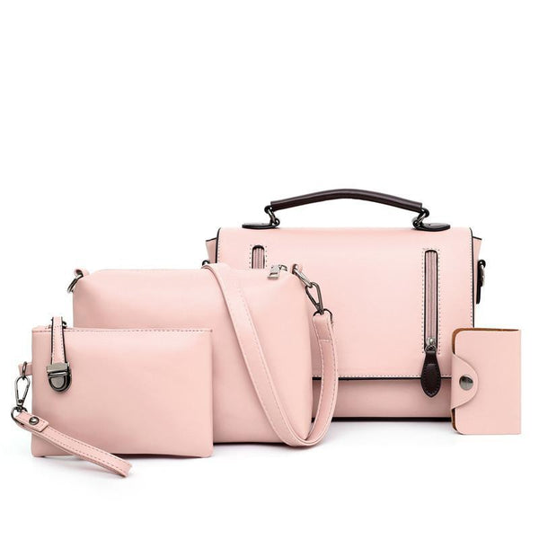 Trendinggate.com Pink Women's bag slant 2019 new Korean version of the retro shoulder slanted female bag PU bag mother multi-piece set foreign trade bag