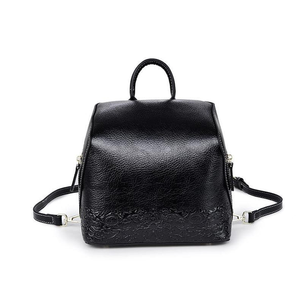 Trendinggate.com Black Women's handbag 2019 autumn women's bag backpack Korean Vintage embossed leather back to school season wish student bag