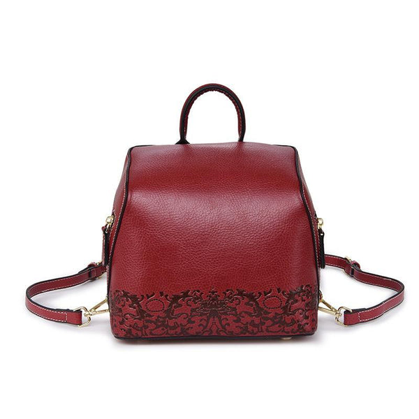 Trendinggate.com Red China Women's handbag 2019 autumn women's bag backpack Korean Vintage embossed leather back to school season wish student bag