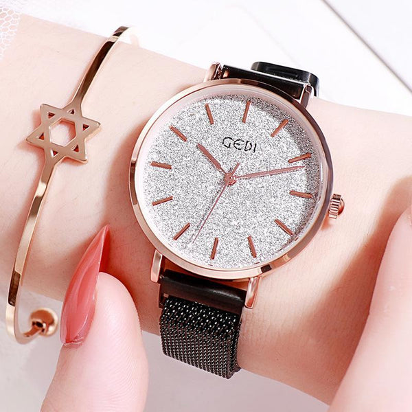 Trendinggate.com Black Belt Silver Plate women watches Women's Watches with Waterproof Steel Belt for Female Students