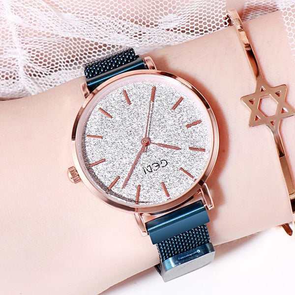 Trendinggate.com Blue Belt and Blue Plate women watches Women's Watches with Waterproof Steel Belt for Female Students