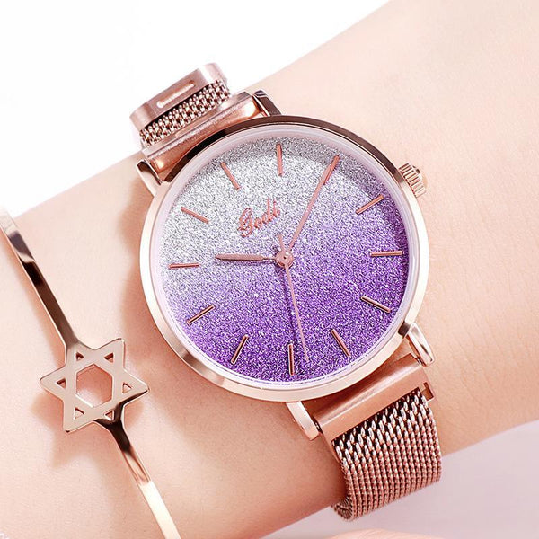 Trendinggate.com purplish women watches Women's Watches with Waterproof Steel Belt for Female Students