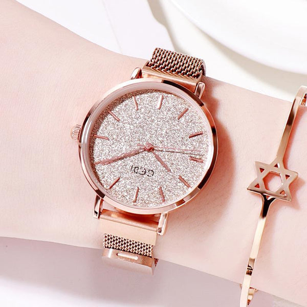 Trendinggate.com Rose Gold women watches Women's Watches with Waterproof Steel Belt for Female Students