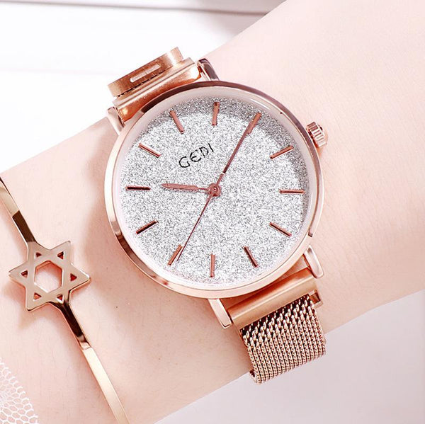 Trendinggate.com Rose Gold Belt Silver Plate women watches Women's Watches with Waterproof Steel Belt for Female Students