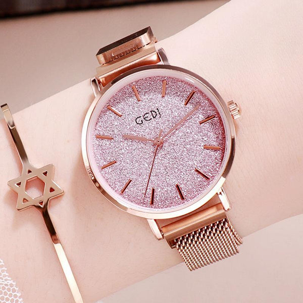 Trendinggate.com Rose gold plate with powder women watches Women's Watches with Waterproof Steel Belt for Female Students