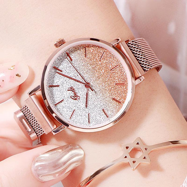 Trendinggate.com rose-rose gold women watches Women's Watches with Waterproof Steel Belt for Female Students