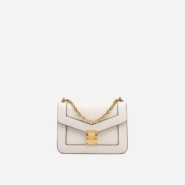 Trendinggate.com creamy-white Xiaozhong Design Summer messenger bag 2019 new chain bag leather shoulder bag Guangzhou cow leather bag customization