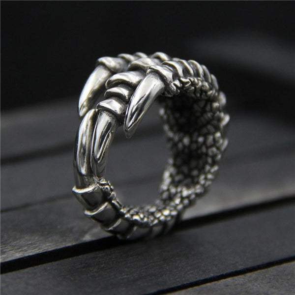 Trendinggate.com Yinqi silver ornament s925 sterling silver bully hawk claw ring Thai silver retro personality unique dragon claw male ring (16-20Number (opening))