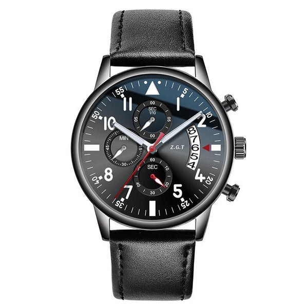 Trendinggate.com Black shell black leather belt ZGTExplosions men's watches new pilots waterproof sports multifunctional trend student business quartz watches