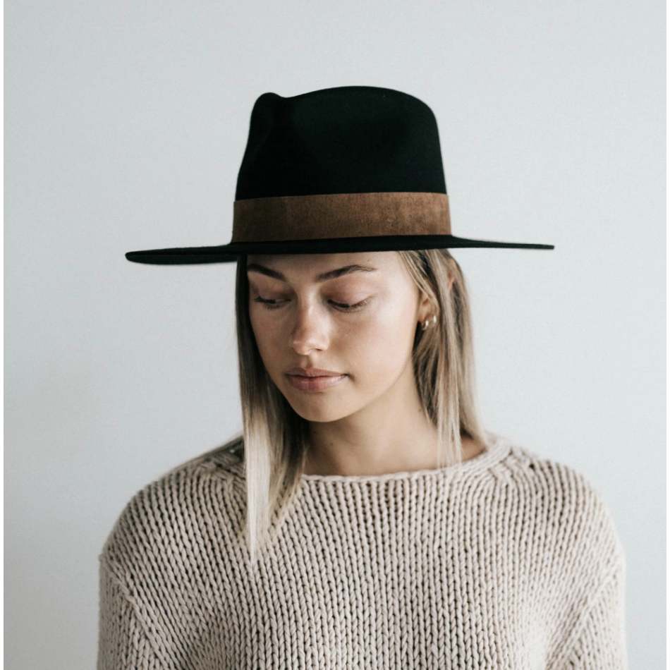 GIGI PIP MILLER FEDORA - BLACK WITH BROWN BAND