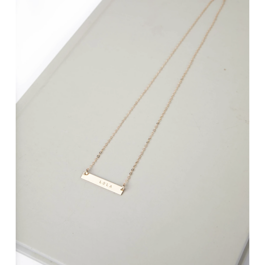 Our Spare Change Gold Bar Necklace Mid 30""