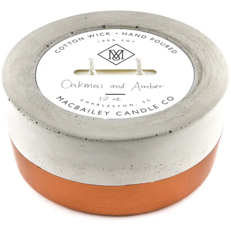 Concrete Candle 12oz - Copper Dipped - Oakmoss & Amber