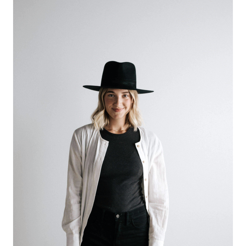 Gigi Pip Miller Black - Pinched Crown Fedora with Flat Brim