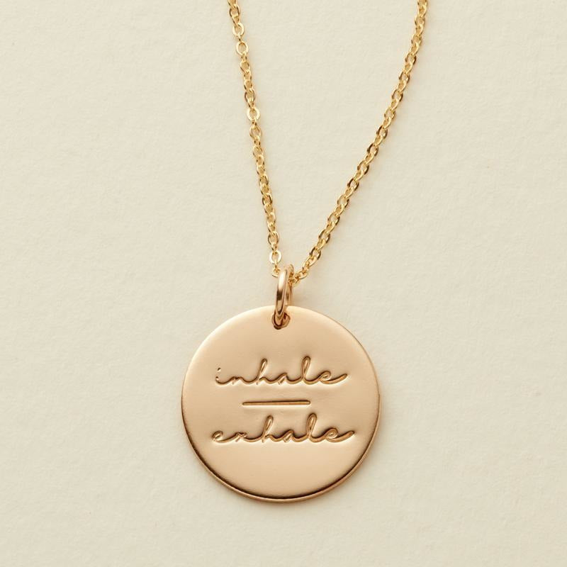 Inhale-Exhale Disc Necklace- 5/8""