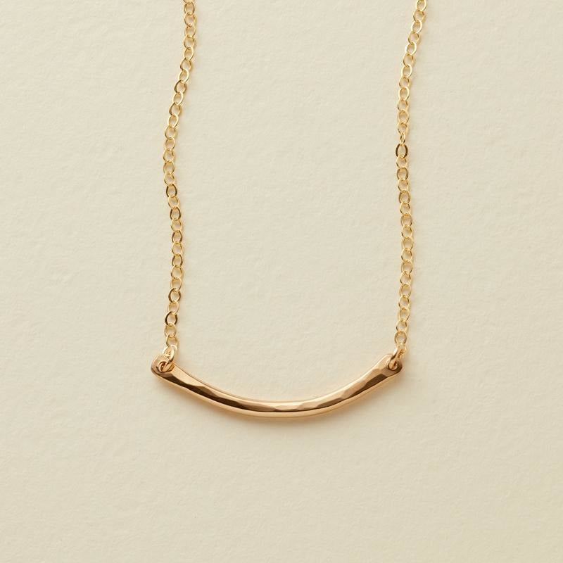 Mini Hammered Crescent Bar Necklace