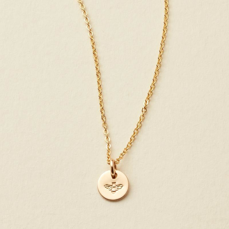 Bee Stamp- Evie Charm Stacker Disc Necklace