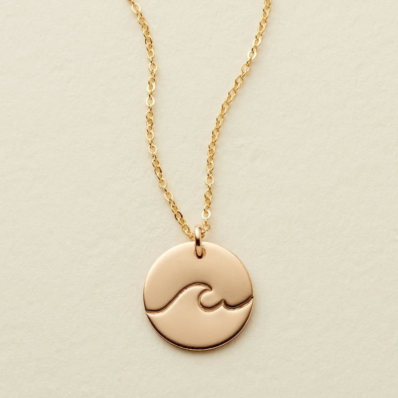 The Wave Disc Necklace - 1/2""