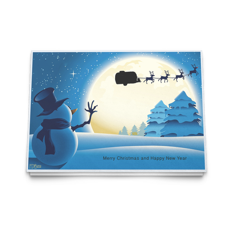 Airstream Christmas Card Snowman Reindeer