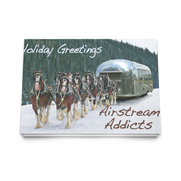 Clydedales Pulling Airstream Christmas Card