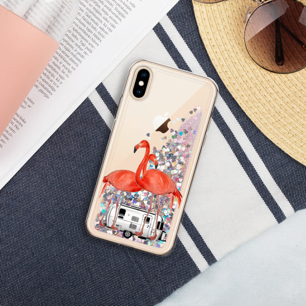 Airstream Flamingo Liquid Glitter iPhone Case
