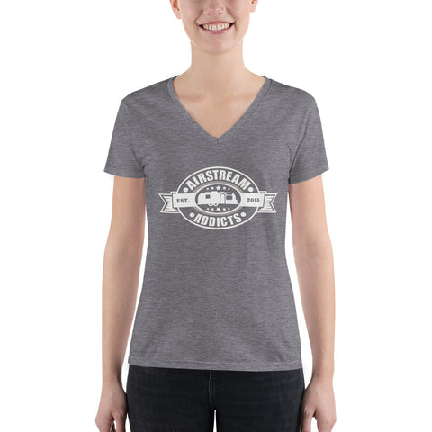 Airstream Addicts Women's Fashion Deep V-neck Tee
