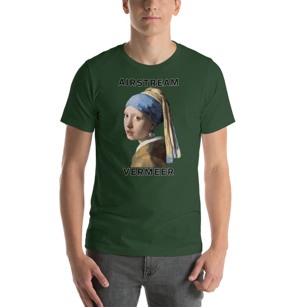 Girl with Airstream Earring Bella + Canvas 3001 Unisex Short Sleeve Jersey T-Shirt with Tear Away Label