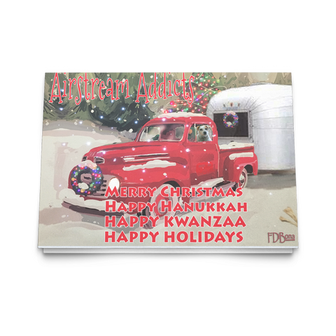 Christmas Card Red Truck Snow