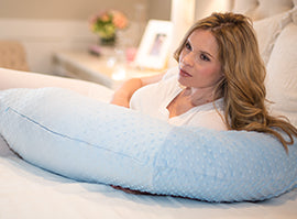 Pregnancy Pillow® Blue Minky Body Pillow - Melon Bellies