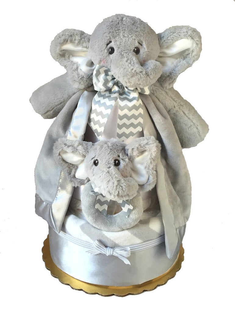 Baby shower gift diaper cake decorated with plush elephants and gray swaddle blankets