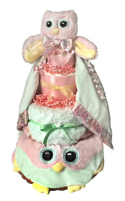 Pink Owl Diaper Cake - Melon Bellies